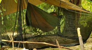 Świetny dodatek do hamaka turystycznego - daszek z moskitierą